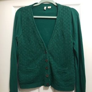 Anthropologie | Moth green cable knit cardigan